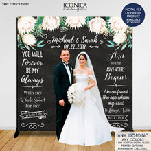 Load image into Gallery viewer, Wedding Photo Backdrop, Custom Step And Repeat Backdrop, Engagement Party Banner, Floral Wedding Backdrop, Printed Or Digital File BWD0008