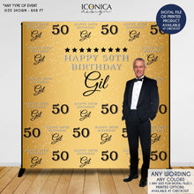 Load image into Gallery viewer, Birthday Backdrop, 50th Birthday Custom Step And Repeat Backdrops, Personalized birthday, Digital Backdrop, Printed Or Printable BBD0088