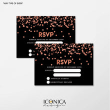 "Load image into Gallery viewer, Black and Rose Gold Confetti Collection RSVP cards 3.5x5"" Insert Cards, Personalized With Any Info, Any Event"