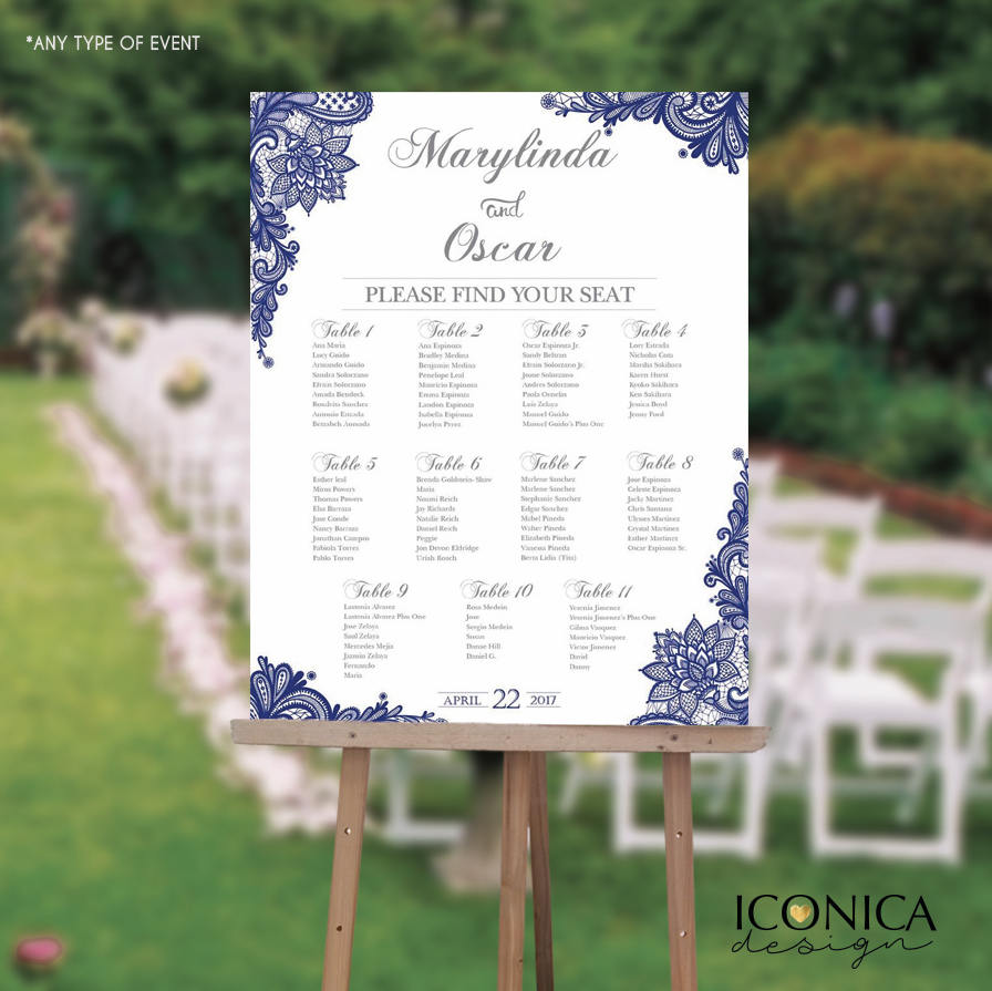 Wedding Seating Chart Board Elegant Navy Blue Printable - Printed Seating Chart Guest List Chart Seating Chart Template any color SCW0023