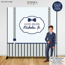 Load image into Gallery viewer, Boys First Communion Backdrop, Baptism Banner, Little Man Backdrop, Bow tie Backdrop, Religious Backdrop, Printed Or Printable File Bbp0003