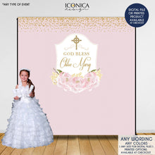 Load image into Gallery viewer, Baptism Backdrop, First Communion Backdrop, Floral Photo Backdrop,Blue Peonies,Printed or Printable File, BFC0002