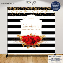 Load image into Gallery viewer, Bridal Shower Backdrop, Elegant Black and White Stripes Banner, Floral Red and Gold backdrop, Red roses backdrop, Printed or Printable File