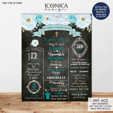 Load image into Gallery viewer, Floral First Communion Chalkboard Sign, Baptism Poster, Baby Blue, Any Event Or Info - Digital Or Printed CFC0006