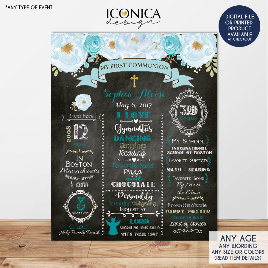 Floral First Communion Chalkboard Sign, Baptism Poster, Baby Blue, Any Event Or Info - Digital Or Printed CFC0006