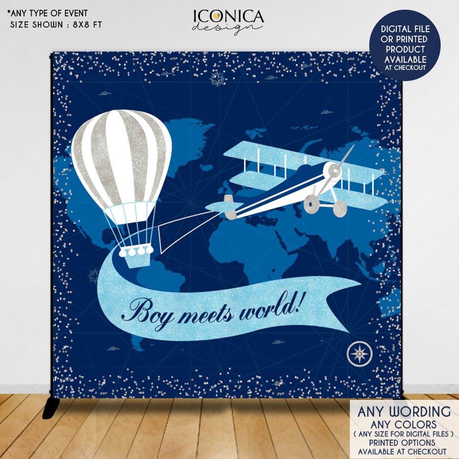 Hot Air Balloon Baby Shower Backdrop, Oh baby,Airplane First Birthday,Up up and away, Boy meets world, Printed or Printable File BBS0054