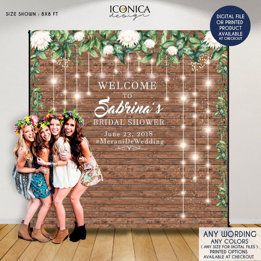 Rustic bridal shower backdrop, Engagement party backdrop, wedding photo backdrop, Printed Or Digital File BWD0019