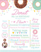 Load image into Gallery viewer, Donut Party Sign, Sprinkles Party Milestone Poster, Donut Grow up, Ice cream Party, Girls Milestones Poster