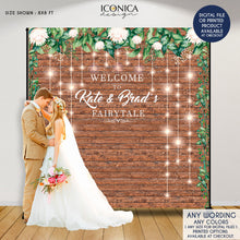 Load image into Gallery viewer, Rustic Wedding Backdrop, Floral Backdrop, Step And Repeat Backdrop Engagement Party, Wedding Decor, Printed Or Digital File BWD0015