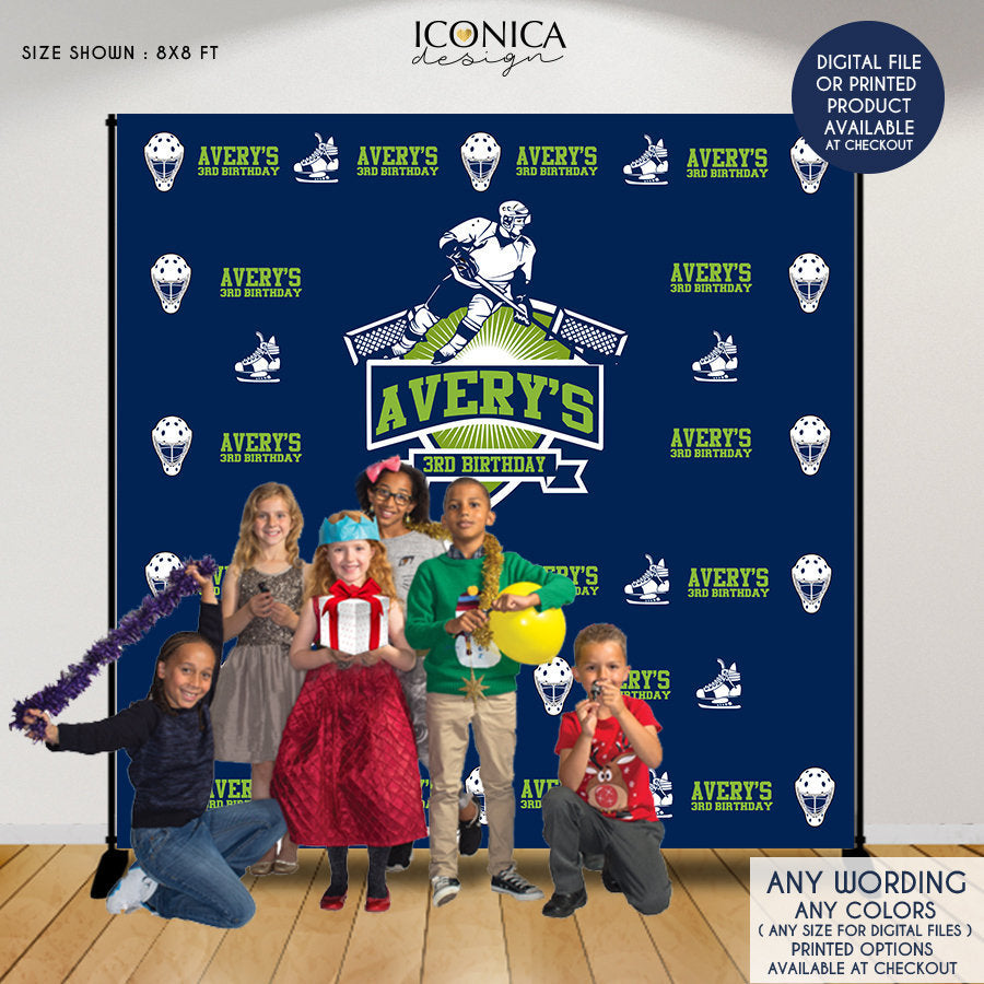 Hockey Photo Booth Backdrop, Custom Step and Repeat Backdrop, Hockey Birthday Bash banner, Sports Party - Printed or Digital File