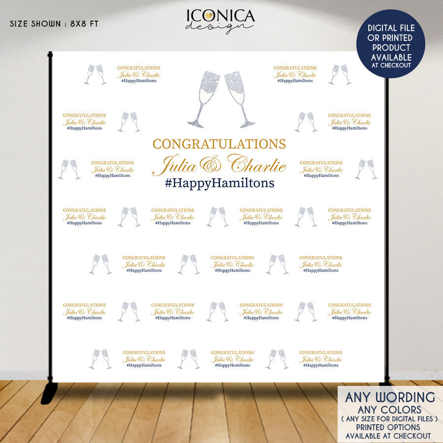 Wedding Backdrop,Custom Step And Repeat Backdrop,Engagement Party Banner,Wedding Backdrop,Silver Glitter,Printed Or Digital File BWD0033