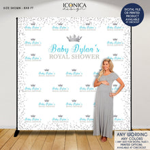 Load image into Gallery viewer, Virtual Baby Shower Baby Shower Backdrop Little Prince, Blue and Silver Baby Shower, Royal party Backdrop, Printed or Printable