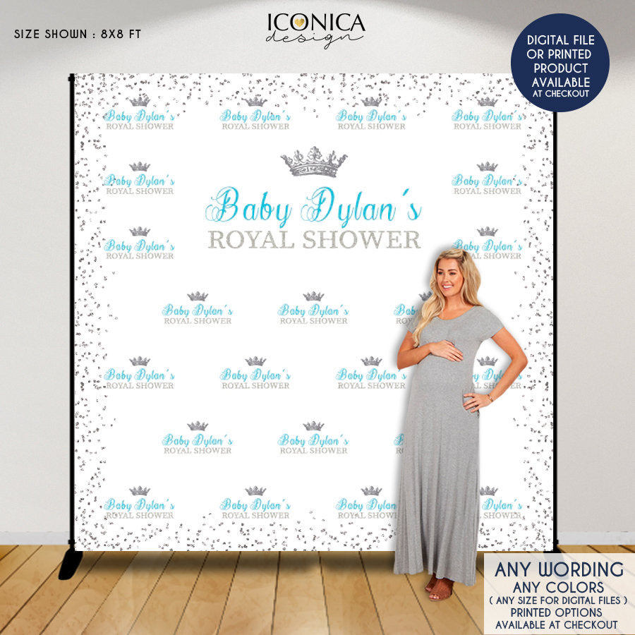 Virtual Baby Shower Baby Shower Backdrop Little Prince, Blue and Silver Baby Shower, Royal party Backdrop, Printed or Printable
