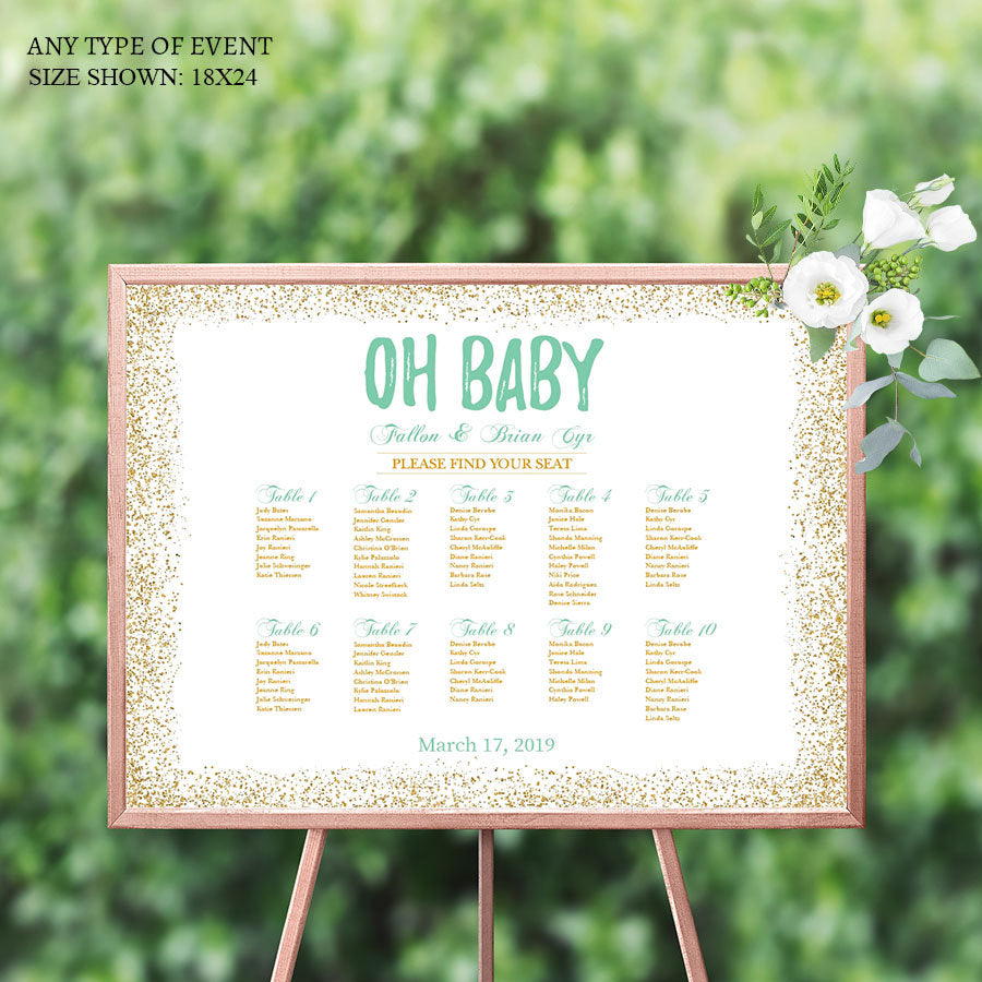 BABY SHOWER Seating Chart Board, Oh baby Gold and Mint Seating Chart, Guest List Chart , Any Color, Template Or Printed SCW0027