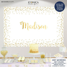 Load image into Gallery viewer, Gold Sparkles Backdrop, any type of event, Gold Party Decor,Gold Dessert Table Banner,Gold Confetti,Printed Or Printable File