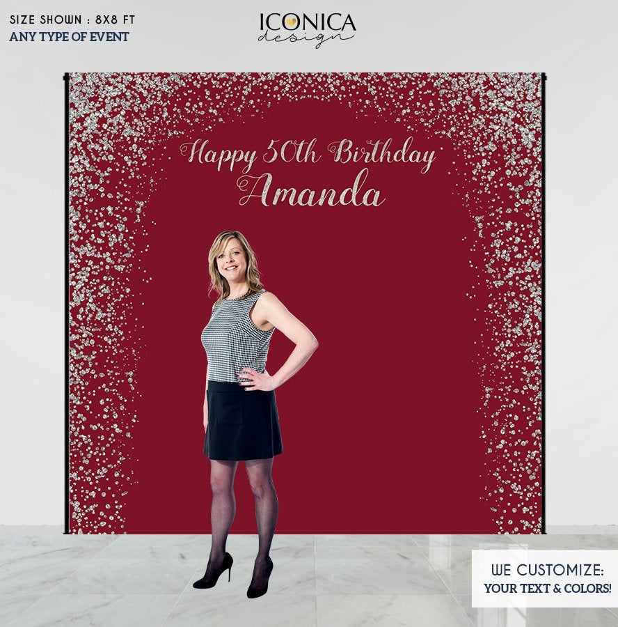 Burgundy Birthday party Decor, 50th Birthday Photo Booth Backdrop, Milestone Birthday Backdrop, Burgundy and Faux Silver backdrop, any age, Printed or Printable File