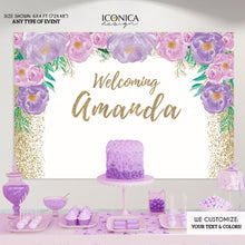 Load image into Gallery viewer, Bridal Shower backdrop, Lilac Wedding Backdrop, Bridal Shower Decor, Personalized Purple photo backdrop, lavender bridal shower BBR0037