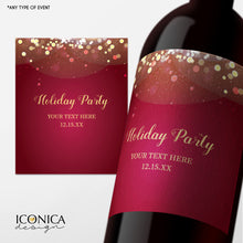 Load image into Gallery viewer, Holiday Party Decor, Any text, Custom Champagne Labels, Bottle wrappers, personalized beer or wine labels, Sparkles, Adult Party Favors