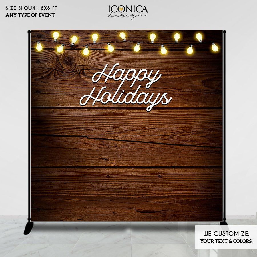 Holiday Decor, Festive Rustic Photo Backdrop,Christmas Party vinyl backdrop,Rustic Backdrop, Happy Holidays Banner,Printed or Printable File