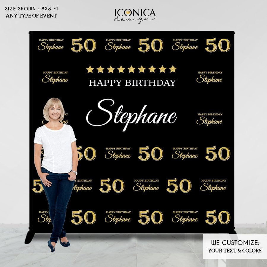 50 Birthday Photo Booth Backdrop - 50th Birthday Party Backdrop - Photo Booth Backdrop - Milestone Birthday Backdrop - Printed or Printable File Free Shipping BBD0108