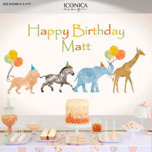 Load image into Gallery viewer, Safari Birthday party decor, Party Animals Backdrop, Jungle Animals Banner, Watercolor Wild one, Zoo animals Decorations,Any text Bbd0053
