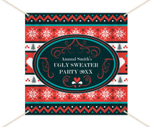 Load image into Gallery viewer, Ugly Sweater Party Backdrop, Ugly Sweater Photo Booth Backdrop, Ugly Sweater Party,Festive backdrop,Printed or Printable File BHO0029