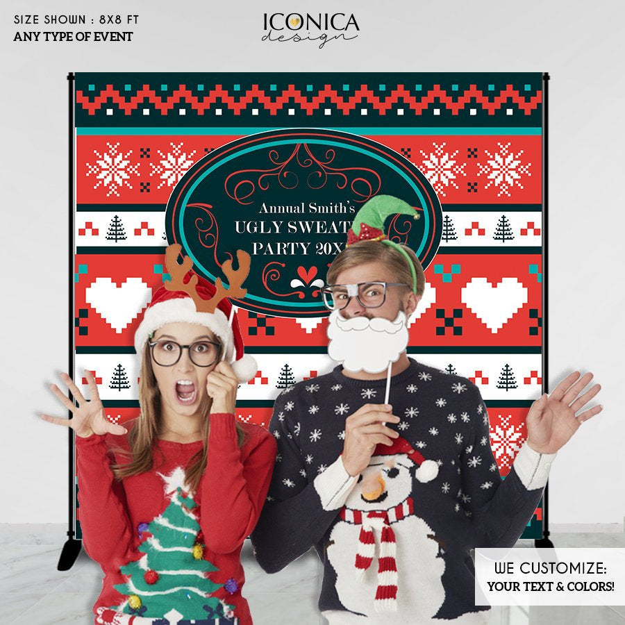 Ugly Sweater Party Backdrop, Ugly Sweater Photo Booth Backdrop, Ugly Sweater Party,Festive backdrop,Printed or Printable File BHO0029