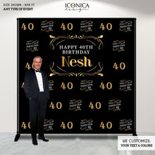 Load image into Gallery viewer, 40th Birthday Backdrop, Aged to Perfection Custom Step And Repeat Backdrops, Personalized birthday, Printed Or Printable File BBD0126