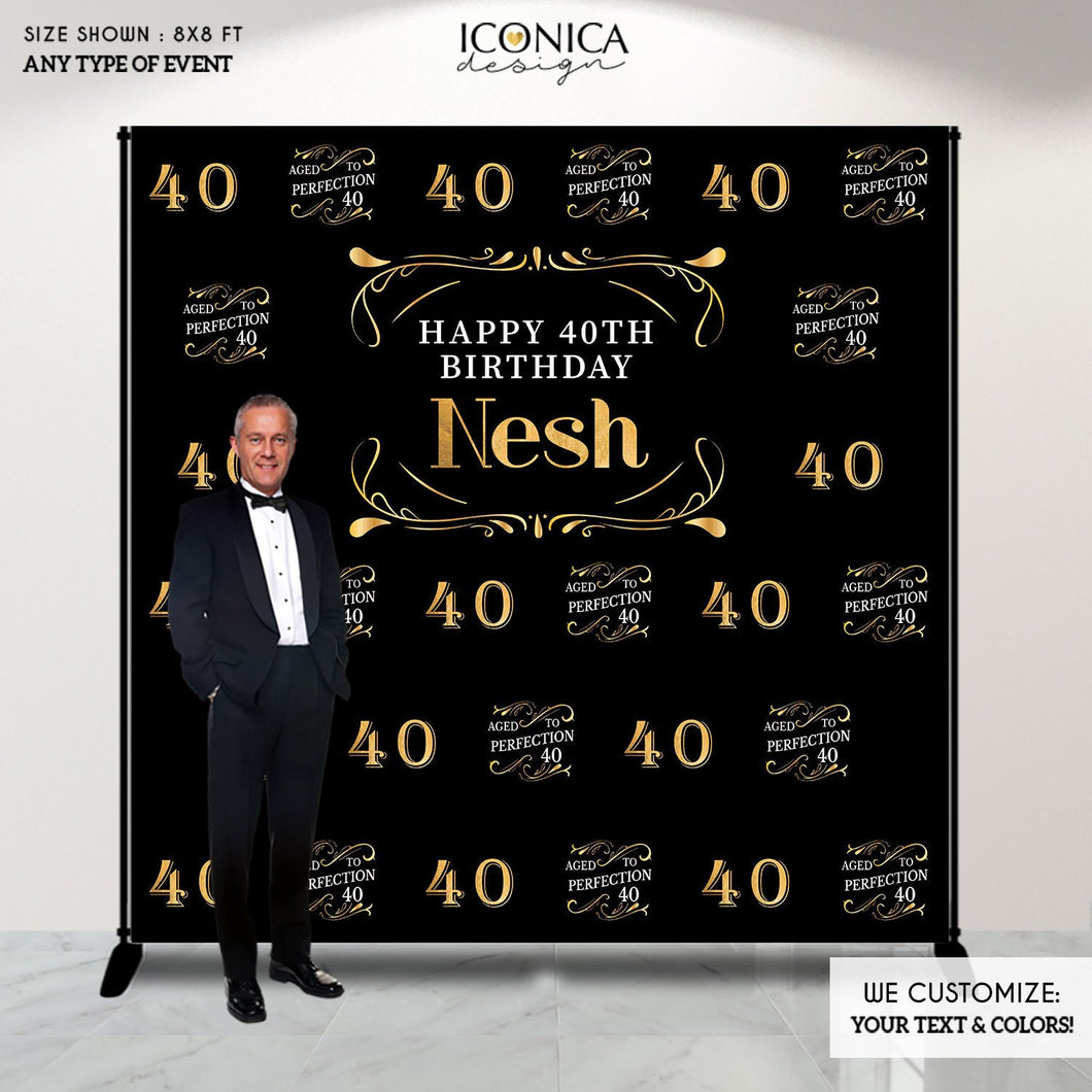 40th Birthday Backdrop, Aged to Perfection Custom Step And Repeat Backdrops, Personalized birthday, Printed Or Printable File BBD0126