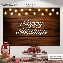 Load image into Gallery viewer, Holiday Decor, Festive Rustic Photo Backdrop,Christmas Party vinyl backdrop,Rustic Backdrop, Happy Holidays Banner,Printed or Printable File