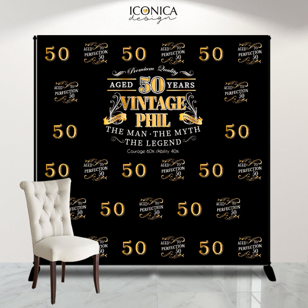50th Birthday Backdrop, Aged to Perfection Custom Step And Repeat Backdrops, Milestone Birthday Backdrop, Personalized birthday, Printed Or Printable File BBD0153