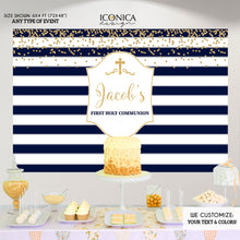 Load image into Gallery viewer, First Communion Photo Booth Backdrop,Blue and Silver Striped Backdrop,Step And Repeat,Printed and Printable File,Free Shipping BFC0015
