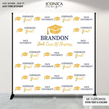 Load image into Gallery viewer, Graduation Party Photo Booth Backdrop, Virtual Graduation Step and Repeat Backdrop, Congrats Grad, Printed Or Printable File BGR0006