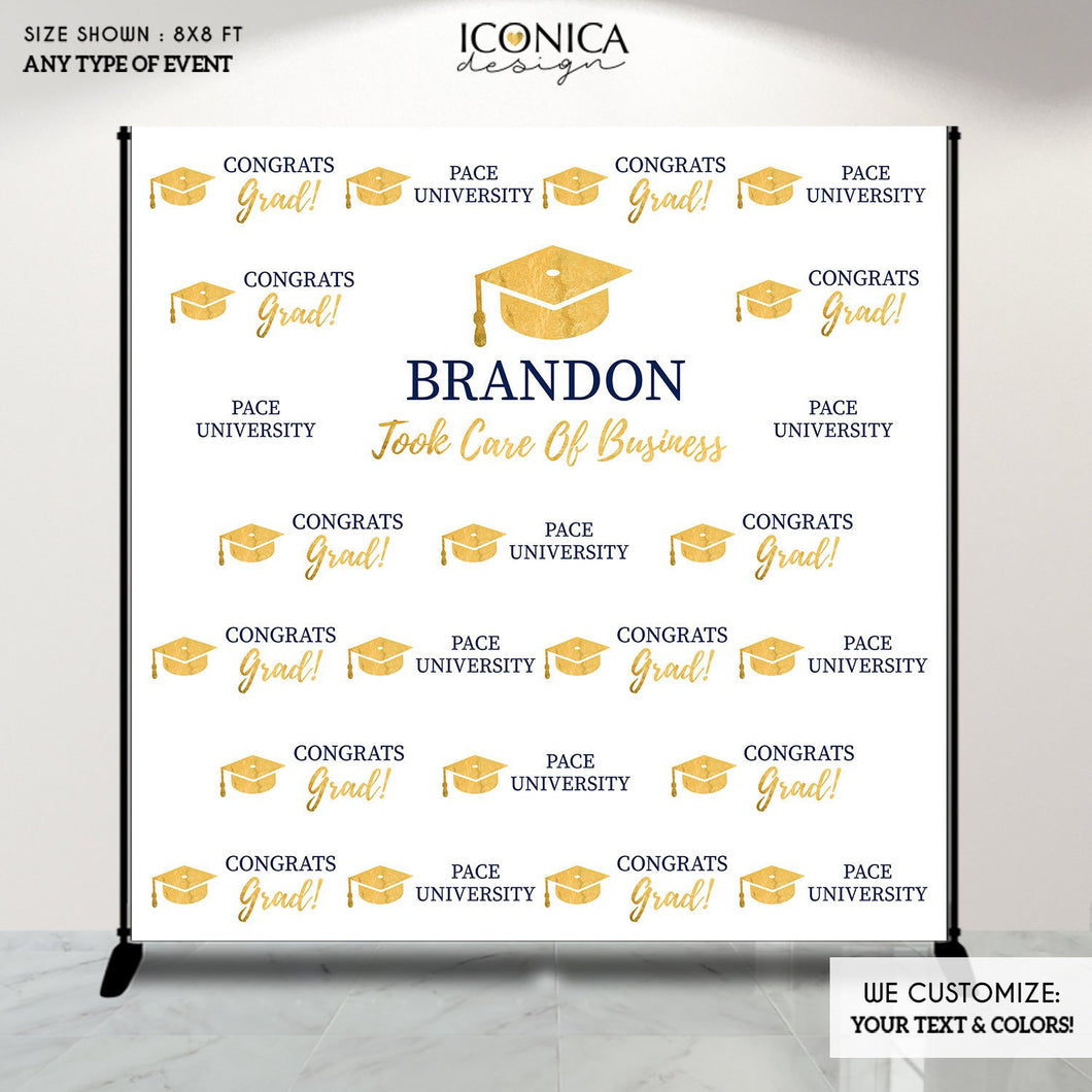 Graduation Party Photo Booth Backdrop, Virtual Graduation Step and Repeat Backdrop, Congrats Grad, Printed Or Printable File BGR0006