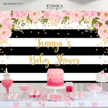 Load image into Gallery viewer, Baby Shower Floral Party Backdrop, Black And White Stripes, Baby Shower Banner, Any Event, Gold Confetti, Printed Or Printable File Bbs0002