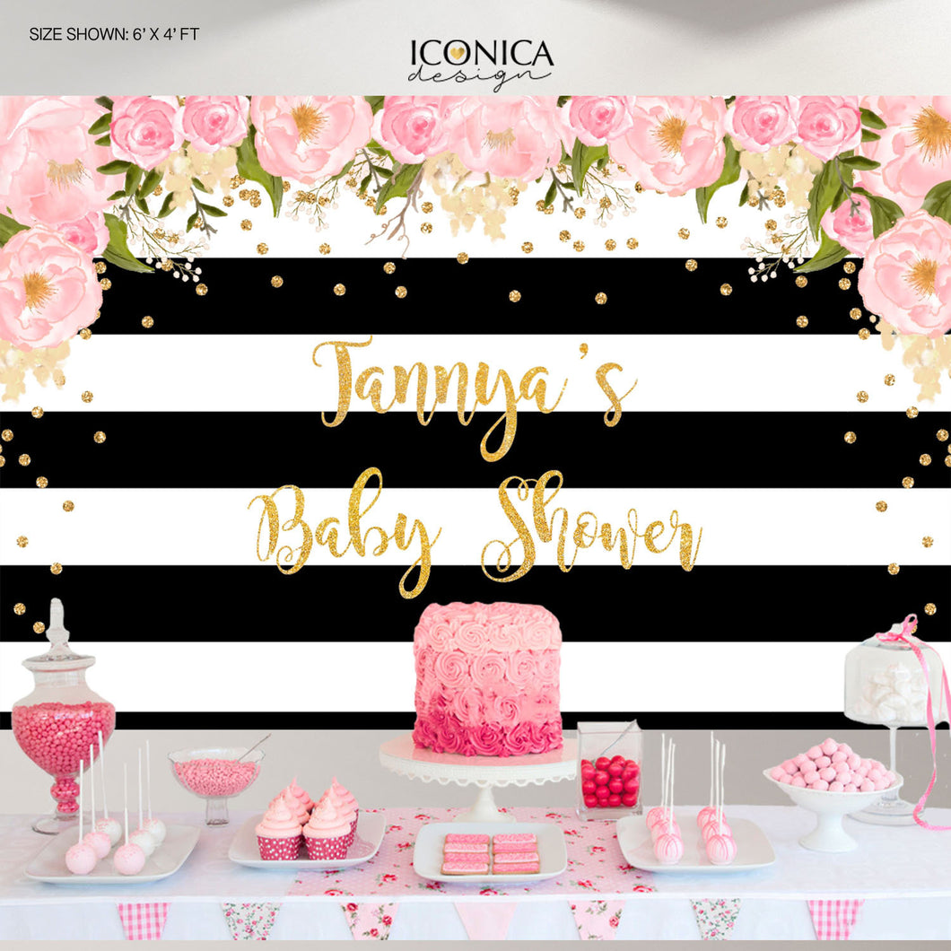 Baby Shower Floral Party Backdrop, Black And White Stripes, Baby Shower Banner, Any Event, Gold Confetti, Printed Or Printable File Bbs0002