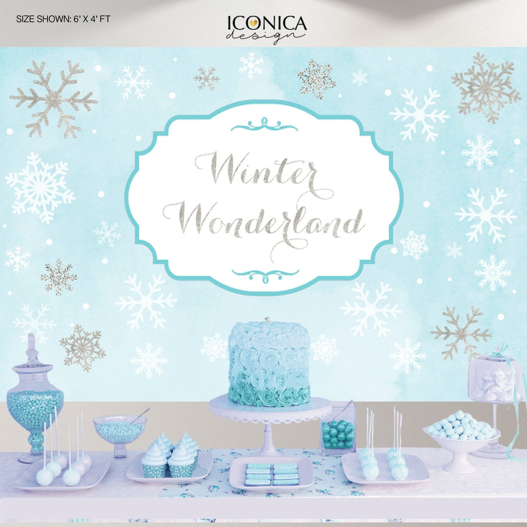 Winter Wonderland Custom Party Backdrop - Blue Silver Glitter Watercolor Background - Snowflakes Printed Or Printable Free Shipping