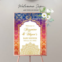 Load image into Gallery viewer, Moroccan Prom Night Welcome Sign Arabian Nights, any event or text,Personalized Moroccan Decor,Arabian Decor,Printed Or Digital File SWBS016