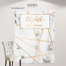 Load image into Gallery viewer, Geometric Photo Booth Backdrop, Graduation Party Decor,Modern Marble Decorations, any text or type of event