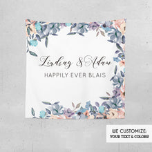 Load image into Gallery viewer, Engagement Party decorations,Blush Pink and Dusty Blue Floral Wedding Decor,Floral Wedding Photo backdrop,Personalized {Lindsay Collection}