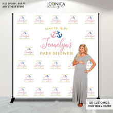Load image into Gallery viewer, Nautical Baby Shower Backdrop,Gender Reveal Baby Shower Decor,Boy or Girl,HE OR SHE,Pink or Blue Anchors,  Nautical Baby Shower Banner