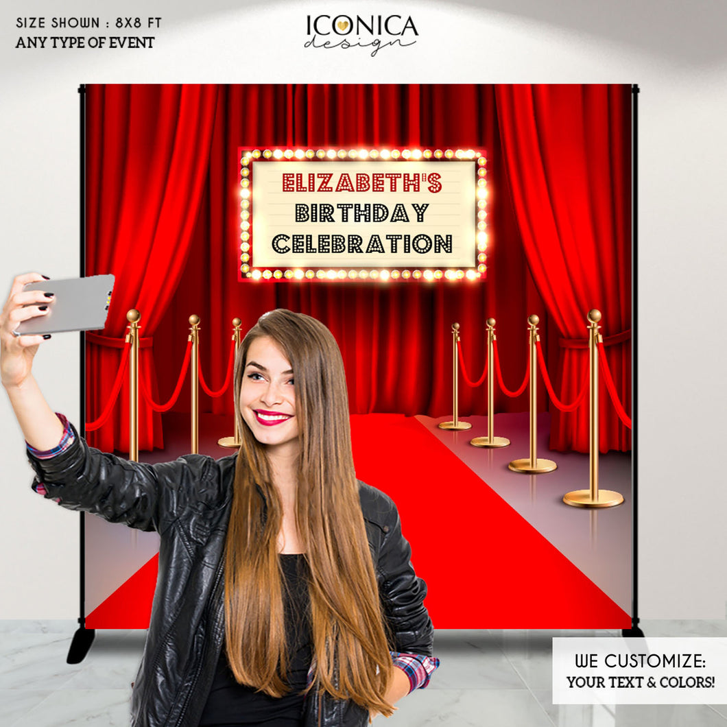 Hollywood Party Backdrop,Hollywood Party Personalized backdrop,Movie Theme Red Carpet Backdrop,Hollywood Birthday party decor,Movie BBD0157