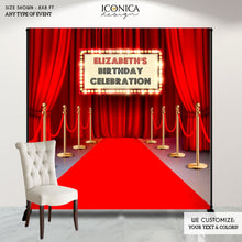 Load image into Gallery viewer, Hollywood Party Backdrop,Hollywood Party Personalized backdrop,Movie Theme Red Carpet Backdrop,Hollywood Birthday party decor,Movie BBD0157