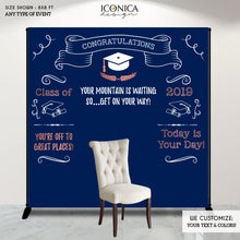 Load image into Gallery viewer, Graduation Party Photo Booth Backdrop, Virtual Graduation, Personalized Banner, Congrats Grad Decor Banner Printed Or Printable File BGR0024