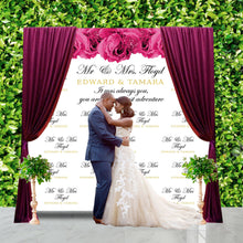 Load image into Gallery viewer, Wedding Photo Backdrop, Hot Pink roses,Elegant Wedding Banner,Floral Wedding Decor,Floral photo backdrop, Printed or Printable File BBS0050