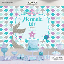 Load image into Gallery viewer, Mermaid Party Backdrop, Under The Sea Party, Mermaid Banner, Any Age, Silver Purple And Blue Mermaid Party , Printed Or Printable BBD0065