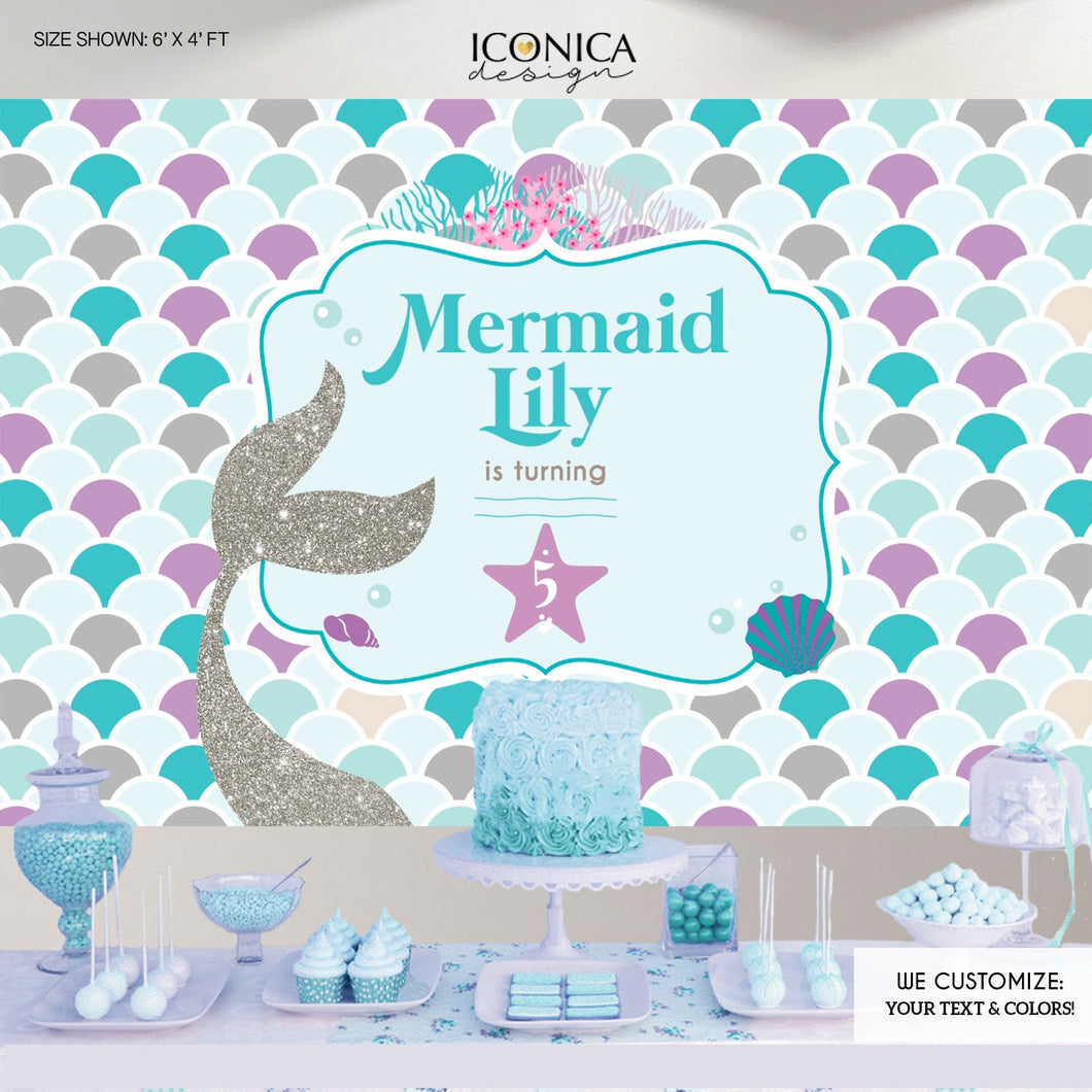 Mermaid Party Backdrop, Under The Sea Party, Mermaid Banner, Any Age, Silver Purple And Blue Mermaid Party , Printed Or Printable BBD0065