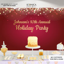 Load image into Gallery viewer, Holiday Party Backdrop,Red Gold Silver Sparkles,Happy Holidays Banner, Any type of Event, Printed or Printable File BHO0028