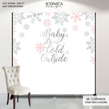Load image into Gallery viewer, Winter wonderland backdrop,Baby it's cold outside Backdrop, Pink and Silver Christmas Party,Pink winter backdrop,Pink snowflakes BHO0025