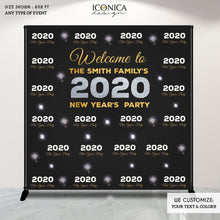 Load image into Gallery viewer, NYE PARTY New Year's Eve party Photo Booth Backdrop, Black and Faux Gold Rose backdrop, any type of event, Printed or Printable File BHO0021